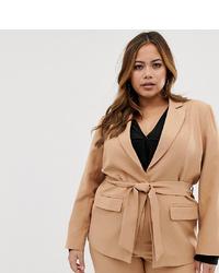 beige Zweireiher-Sakko von Fashion Union Plus