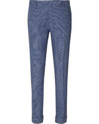 blaue Anzughose mit Karomuster