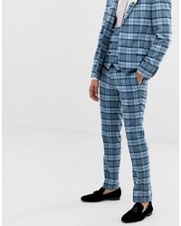 blaue Anzughose mit Karomuster von Twisted Tailor