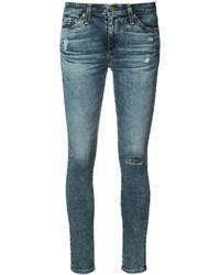blaue Baumwolle enge Jeans mit Destroyed-Effekten von AG Jeans