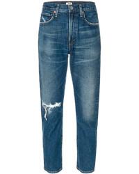 blaue enge Jeans aus Baumwolle mit Destroyed-Effekten von Citizens of Humanity