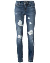 blaue enge Jeans aus Baumwolle mit Destroyed-Effekten von Dolce & Gabbana