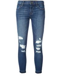 blaue enge Jeans aus Baumwolle mit Destroyed-Effekten von J Brand
