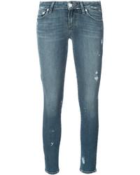 blaue enge Jeans aus Baumwolle mit Destroyed-Effekten von Paige