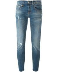blaue enge Jeans aus Baumwolle mit Destroyed-Effekten von R 13