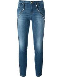 blaue Baumwolle enge Jeans von Versace