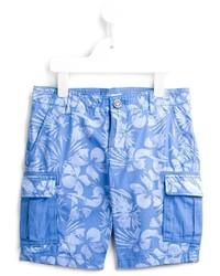 blaue bedruckte Baumwollshorts von Armani Junior