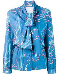 blaue bedruckte Bluse von Balenciaga
