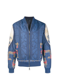 blaue bedruckte Bomberjacke von Versace Collection