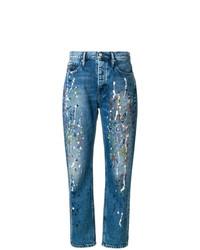 blaue bedruckte Boyfriend Jeans von Calvin Klein Jeans