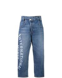 blaue bedruckte Boyfriend Jeans von Monse