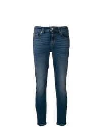 blaue bedruckte enge Jeans von Alexander McQueen