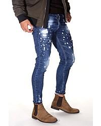 blaue bedruckte enge Jeans von Bright Jeans