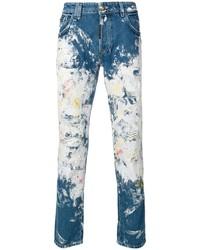 blaue bedruckte enge Jeans von Philipp Plein