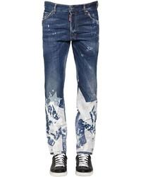 blaue bedruckte Jeans