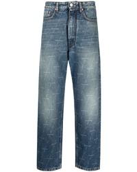 blaue bedruckte Jeans von Balenciaga