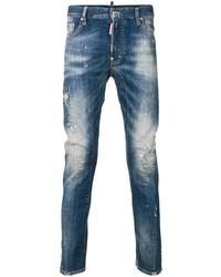 blaue bedruckte Jeans von DSQUARED2
