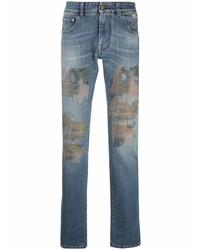 blaue bedruckte Jeans von Etro