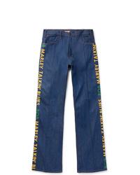 blaue bedruckte Jeans von KAPITAL