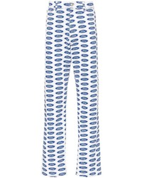 blaue bedruckte Jeans von Versace