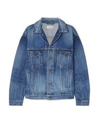 blaue bedruckte Jeansjacke von Balenciaga