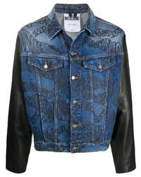 blaue bedruckte Jeansjacke von Moschino