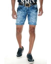 blaue bedruckte Jeansshorts von FIOCEO