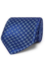 blaue bedruckte Krawatte von Charvet
