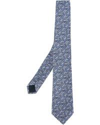 blaue bedruckte Krawatte von Lanvin