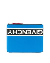 blaue bedruckte Leder Clutch Handtasche