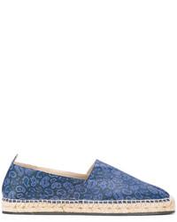 blaue bedruckte Leder Espadrilles von Etro