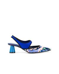 blaue bedruckte Leder Pumps von Emilio Pucci