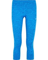 blaue bedruckte Leggings von Nike