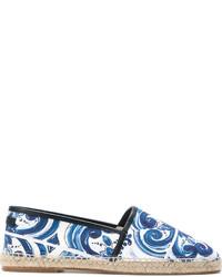 blaue bedruckte Segeltuch Espadrilles von Dolce & Gabbana
