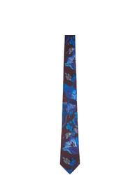 blaue bedruckte Seidekrawatte von Paul Smith