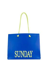 blaue bedruckte Shopper Tasche aus Leder von Alberta Ferretti