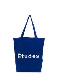 blaue bedruckte Shopper Tasche aus Segeltuch