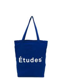 blaue bedruckte Shopper Tasche aus Segeltuch von Études