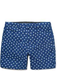 blaue bedruckte Shorts