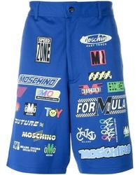 blaue bedruckte Shorts von Moschino