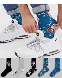 blaue bedruckte Socken von ASOS DESIGN