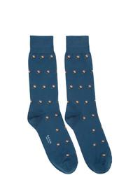 blaue bedruckte Socken von Paul Smith
