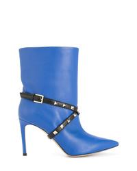 blaue beschlagene Leder Stiefeletten von Valentino