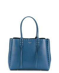 blaue beschlagene Shopper Tasche aus Leder von Lanvin