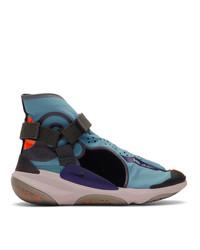 blaue bestickte hohe Sneakers aus Segeltuch von Nike
