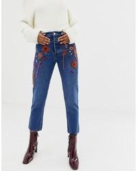 blaue bestickte Jeans von ASOS DESIGN