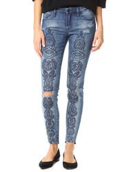 blaue bestickte Jeans von Blank