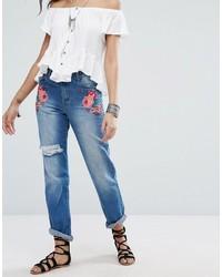 blaue bestickte Jeans von Boohoo
