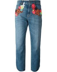 blaue bestickte Jeans von Christopher Kane