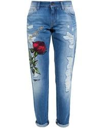 blaue bestickte Jeans von Dolce & Gabbana